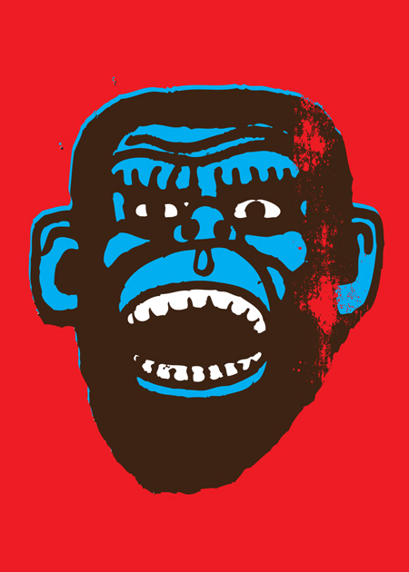 Blue Chimp on Red